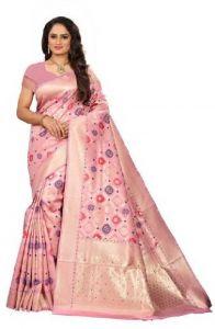 Embellished Paithani Silk Blend Saree (Pink)