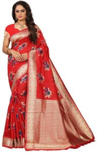 Printed Daily Wear Cotton Silk Saree (Red)