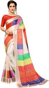 Color Block Bollywood Cotton Jute Blend Saree