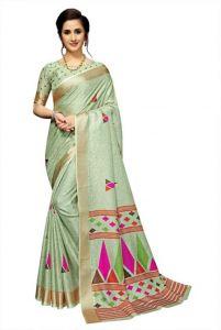 Solid Bollywood Cotton Jute Blend Saree(Light Green)