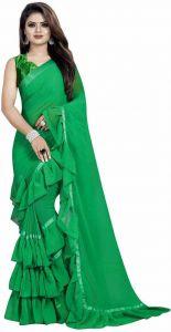 Self Design Fashion Georgette Saree  (Green)