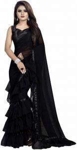 Self Design Fashion Georgette Saree  (Black)
