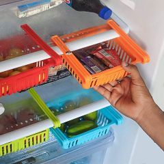 Adjustable Fridge Storage Basket Under Shelf Fridge Organizer Rack Space Saver Refrigerator Sliding Drawers - Unbreakable