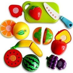 TECHTOY Pretended Realistic Sliceable Fruits Cutting Play Toy Set (Multi-Color) (5 Piece)