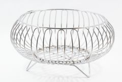 Vaishvi Heavy Stainless Steel Nickel Chrome Plated Vegetable and Fruit Bowl Basket
