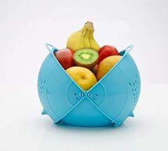 Aaradhya Vegetable Fruit Rinse Bowl & Strainer Cum Basket (Random Colors)