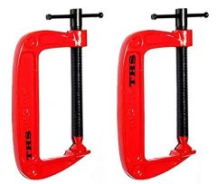 Ths Diy 2 Inch C Clamp Set, Heavy Duty G-Clamps With 2-Inch Jaw Opening Sliding T-Bar Handle For Diy Carpentry Woodwork Building (Pack Of 2)
