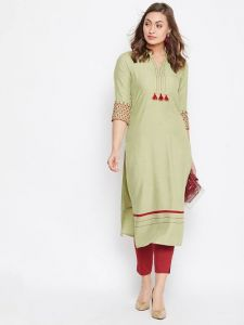 Stitched Embroidered Viscose Rayon Fabric Straight Kurta for Womens (Color:-LightGree)