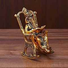 Lord Ganesha Statue Sitting On A Chair And Reading (Size: 15Cm X 7Cm X 10Cm)