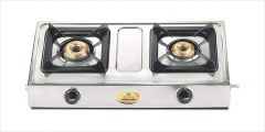 Bajaj Popular Eco 2 Burner Stainless Steel Gas Stove with Stainless Steel Body   ISI Certified   Heavy Brass Burners (Black)