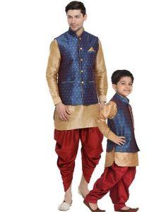 Vastramay Fashionable & Trendy Kurta Waistcoat and Dhoti Set with Juti or Mojdi for Boys & Men-44 Size (Pack of 1)-GAT-T-27
