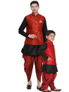 Vastramay Fashionable & Stylish Kurta Waistcoat and Dhoti Set with Juti or Mojdi for Boys & Men-40 Size (Pack of 1)-GAT-T-29