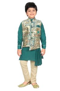 Stylilsh Cotton Blended Waistcoat Kurta & Pyjama for Boys (Pack of 1)-GAT-T-70