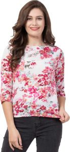 Casual 3/4 Sleeve Self Design Women Pink-White Top