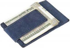 Men Blue Genuine Leather RFID Money Clip  (7 Card Slots)