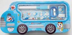 Doraemon Bus Art Metal Pencil Box for Kids (Set of 5, Blue)