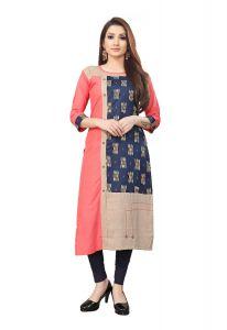Jashikathaindustries Stylish & Fashionable Kurti Perfect For Women's (Pink/Navy Blue)