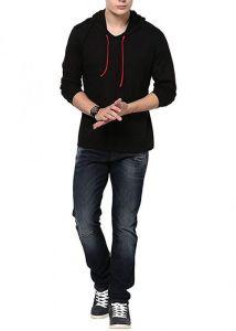 Fashion Gallery Men's Cotton Hooded T-shirt | Full Sleeve | V-Hood T-shirt