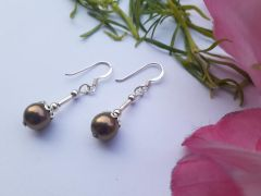 Astrogemsindia Fashionable 92.5 Sterling Silver Natural Brown Pearl Earrings For Women and Girl's