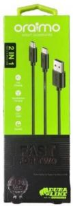Oraimo OCD-T61 Fast Charging USB Cable 1meter Compatible with C Type and A Type (Black)