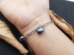 Astrogemsindia Natural and Amazing 92.5 Sterling Silver Blue Stone Bracelet for Women and Girls