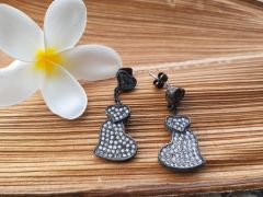 Astrogemsindia Trendy and Fashionable 92.5 Sterling Silver Heart-Shaped Stone with Mini Diamond Earring For Women & Girls