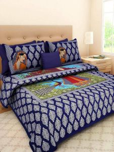 Astro 144 Tc 100% Pure Cotton New Traditional Designer Peacock Print King Size Double Bedsheet with 2 Pillow Covers (Purple)
