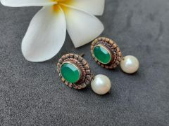 Astrogemsindia Designer and Fashionable 92.5 Sterling Silver Natural Gemstone with White Pearl Jhumki Earrings For Women & Girls