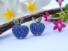 Astrogemsindia Trendy and Fashionable 92.5 Sterling Silver Apple Shaped Stone with Mini Diamond Earring For Women & Girls