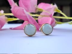 Astrogemsindia Designer and Fashionable 92.5 Sterling Silver Round Grey Shaped Stone Earring For Women & Girls