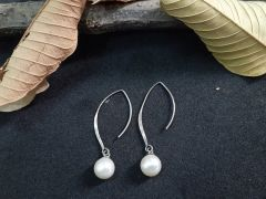 Astrogemsindia Fashionable 92.5 Sterling Silver Natural White Pearl Earring For Women's & Girl's