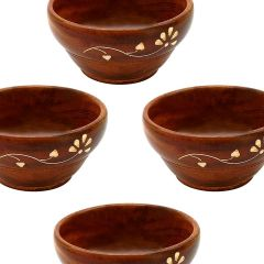 BuyCraft Wooden Handmade Serving Bowl with Small Spoons Best for Dry Fruits, Set of 4