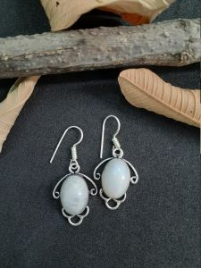 Astrogemsindia Natural and Fashionable 92.5 Sterling Silver White Rainbow Moonstone Earring for Women & Girls