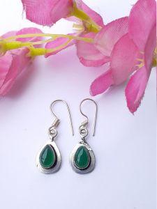 Astrogemsindia Fashionable 92.5 Sterling Silver Natural Green Gemstone Earring Jhumki For Women & Girl's