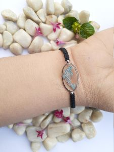 Astrogemsindia Natural and Latest Blue Dolphin Design with Black Cord Bracelet For Women and Girls