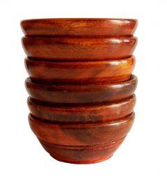 SHINING STAR ENTERPRISES Wood Serving Bowl Simple & Elegant, Wooden Serving Bowl Set of 6, Multipurpose Wooden Bowl/Serving Bowl/Gift Items Handcrafted Set of 6