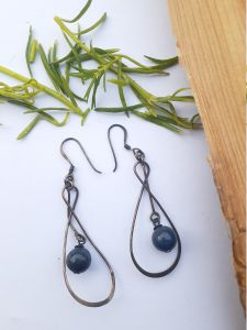 Astrogemsindia Fashionable 92.5 Sterling Silver Natural Dark Blue Pearl Earring For Women & Girl's