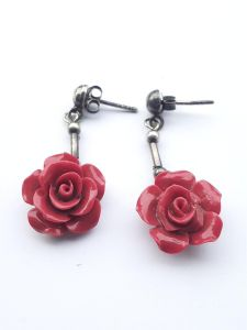 Astrogemsindia Trendy and Fashionable 92.5 Sterling Silver Rose Design Earring for Women & Girls (Red)