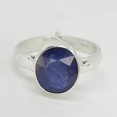 Astrogemsindia Natural Certified 92.5 sterling silver 7.00 To 7.50 cts Sri Lanka Blue Sapphire| Neelam Precious Gemstone Adjustable ring for Men's & Women's