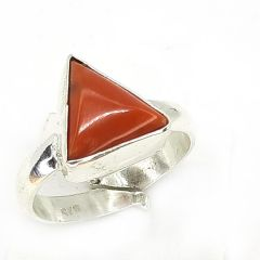 Astrogemsindia Natural Certified 92.5 sterling silver 5.00 To 5.50 cts Italian Red Coral Precious Gemstone Triangle Shape Adjustable ring for Men's & Women's