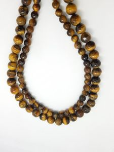 Astrogemsindia Natural Tiger's Eye 15.5 Round Shape Beads Necklace and Bracelet Set Combo for Women's & Girls (Brown)