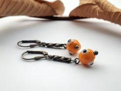 Astrogemsindia Natural and Stylish 92.5 Sterling Silver Round Orange Swarovski Earring for Women & Girls