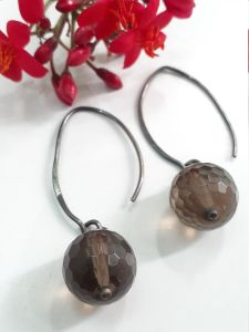 Astrogemsindia Natural and Fashionable 92.5 Sterling Silver Brown Gemstone Earring for Women & Girls