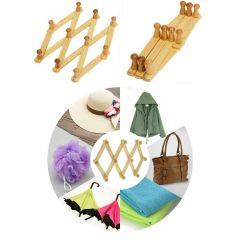 Wooden Expendable Peg Reg Wall Mounted Coat Rack Wooden Expendable for Coats Hats Caps Scarves Sweaters T Shirts & Lower Hanging -Wall Rack