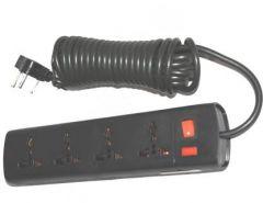 YadavEnterprises Surge Protector 4 Socket, 5 Meter Mains Cord With Flash Type Fuse Holder 4 Socket Extension Boards (Black)