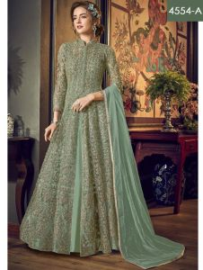 Navodayan Women's Silk Semi-Stitched Designer Heavy Embroidered Anarkali Suit Salwar (Free Size)