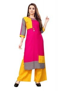 Jashikathaindustries Stylish Kurti With Palazzo For Women's (Pink/Yellow)