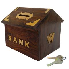 Wooden Money Bank Hut Style Kids Piggy Coin Box Gifts Handmade With Lock (Handicrafted)