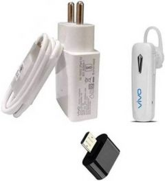 Vivo Original Wall Charger Accessory Combo For Mobile (White)
