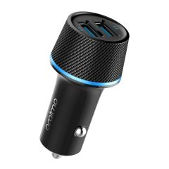 Oraimo Highway 5V 2.4A Dual USB Port Fast Charging 10.5W LED Light, Multi-Protection Safety System & Compact Car Charger for All Mobiles (Black)